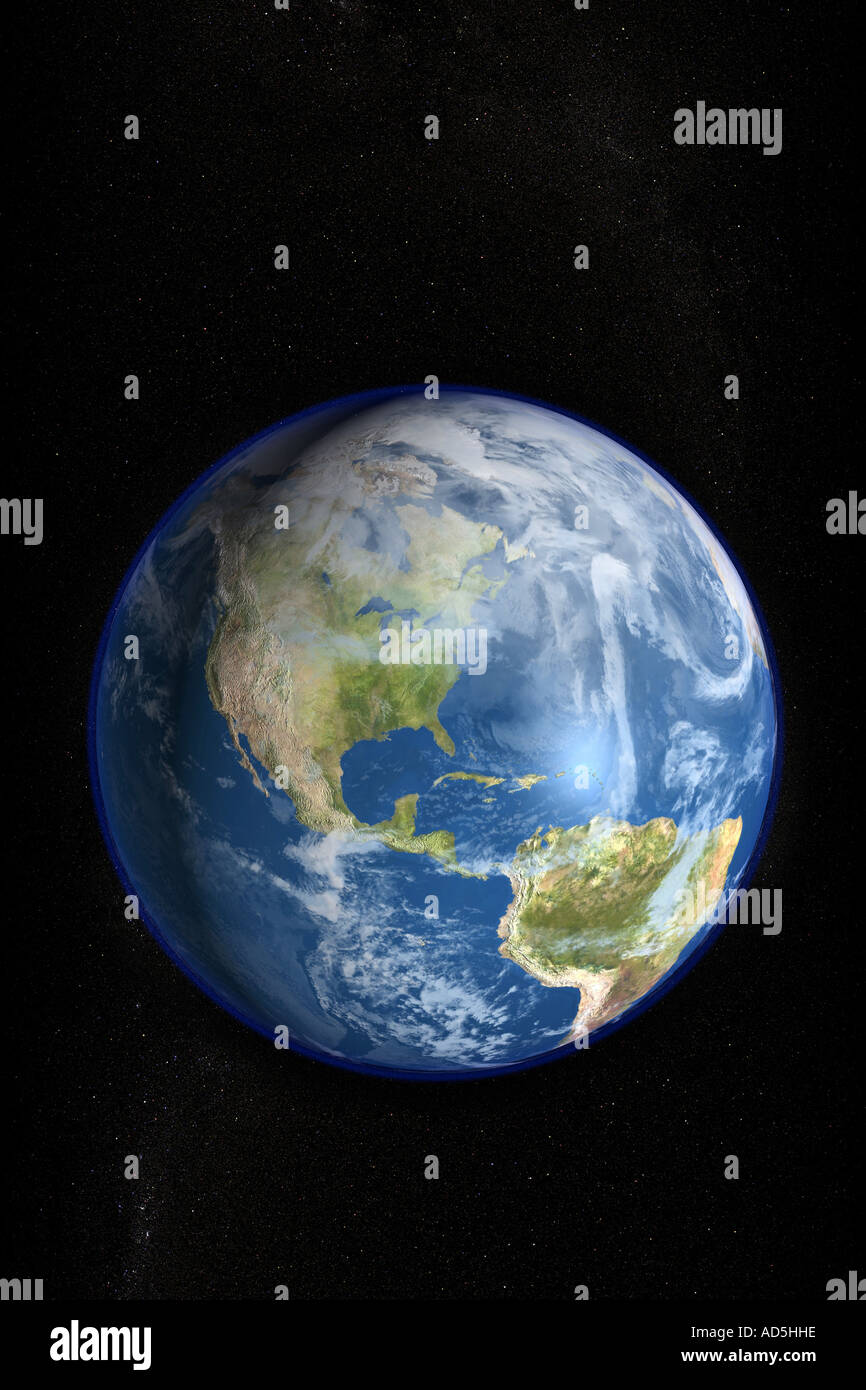 The planet earth as seen from space in a high resolution photorealistic rendered image - Stock Image