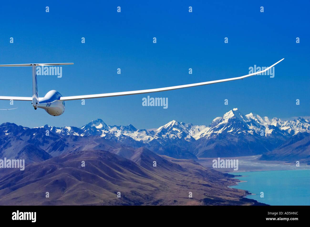 Glider Lake Pukaki and Aoraki Mt Cook Mackenzie Country South Island New Zealand aerial Stock Photo