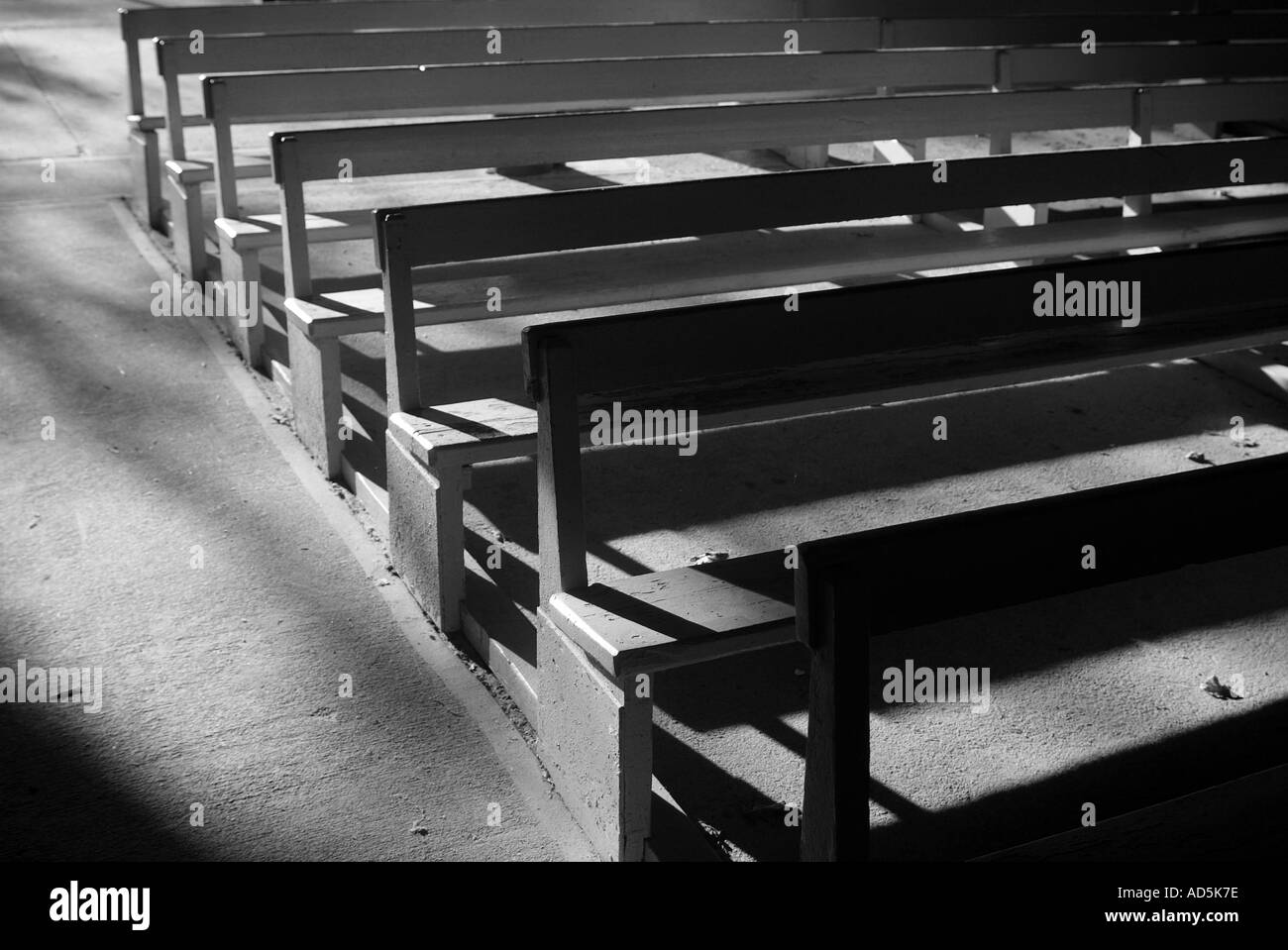 Seats in a Methodist revival Tabernacle in the campgrounds at Oak Bluffs Martha s Vineyard Massachusetts - Stock Image