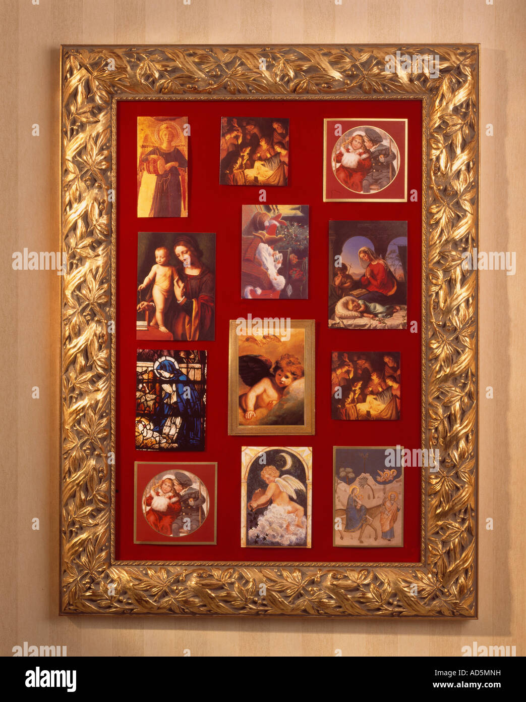 Classical religious Christmas cards displayed in gold picture frame ...
