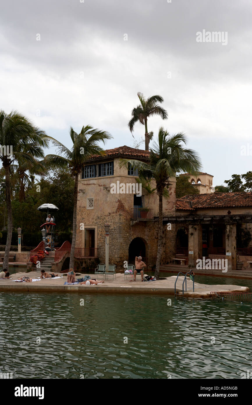 view of the venetian pool coral gables miami florida united states usa - Stock Image