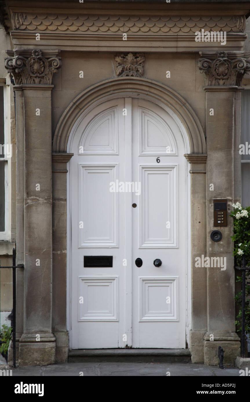 white double front door. close up of white georgian double front doors door d
