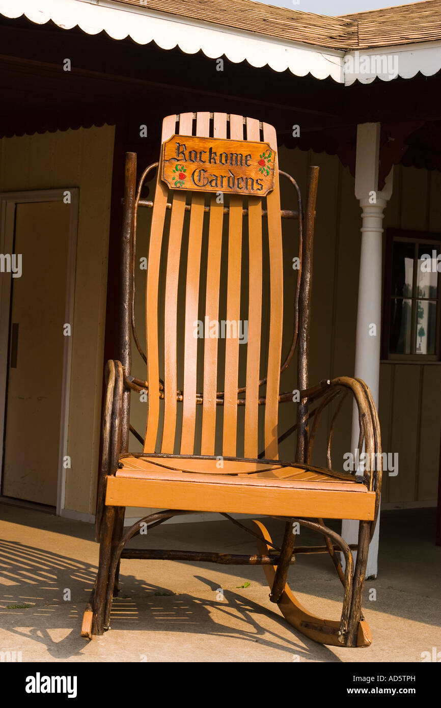 ILLINOIS Arcola Large Rocking Chair With Sign For Rockome Gardens At  Entrance To Park