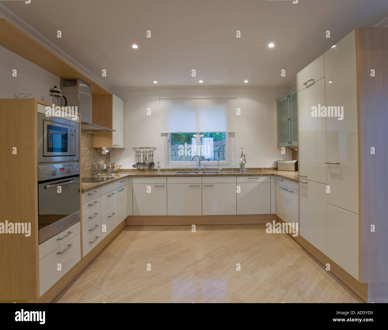 Modern White Kitchen With Marble Floor Stock Photo Alamy