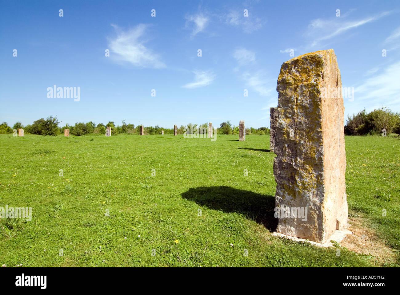 The Ardington and Lockinge Millennium Sundial and Solar System stone circle and woodland Oxfordshire The Millennium Stock Photo