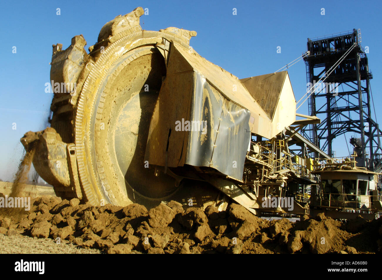 Excavator at the coal mine Garzweiler in Germany Stock Photo