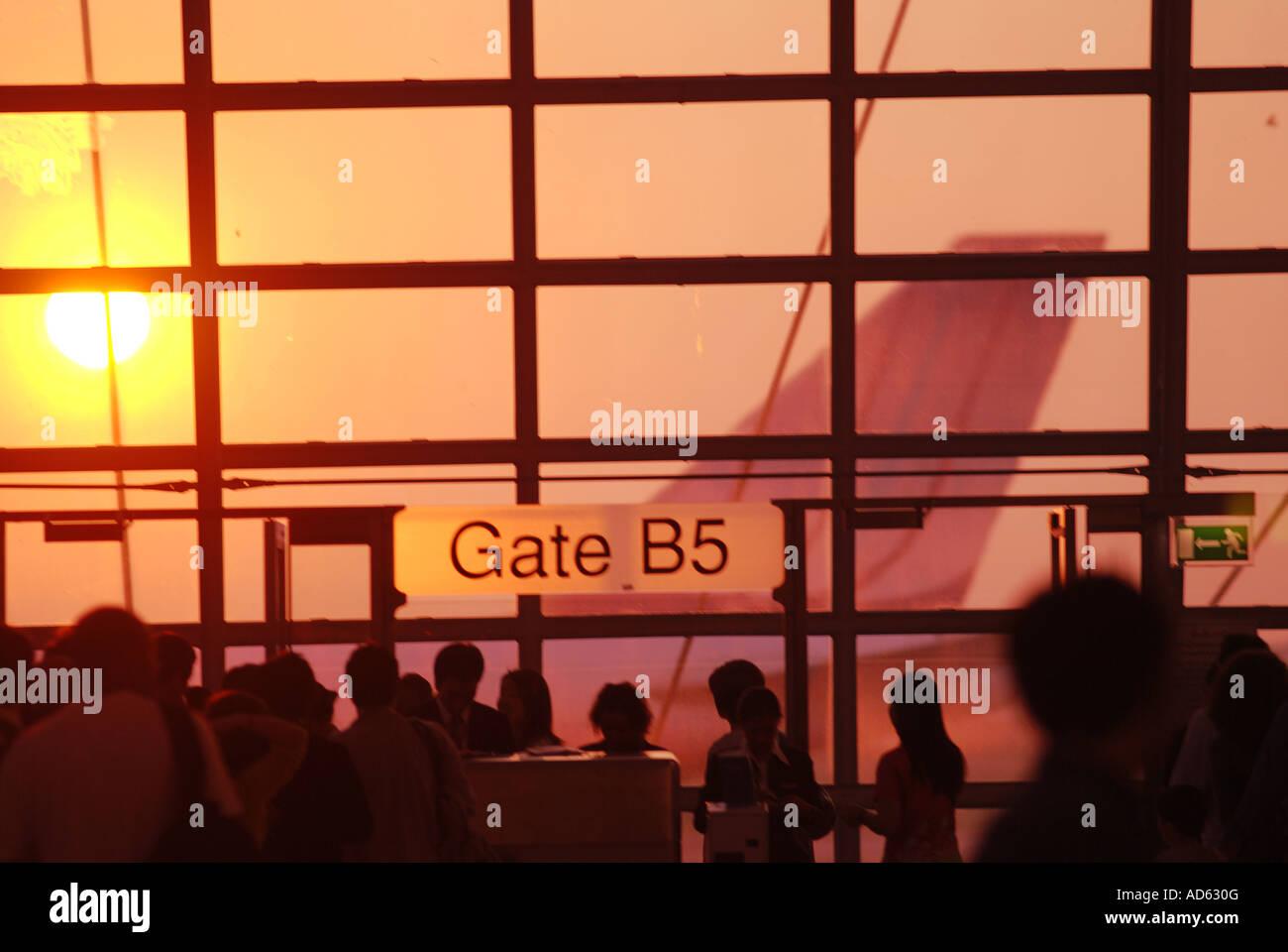 Bangkok airport gate departure travel embark romantic vacation - Stock Image
