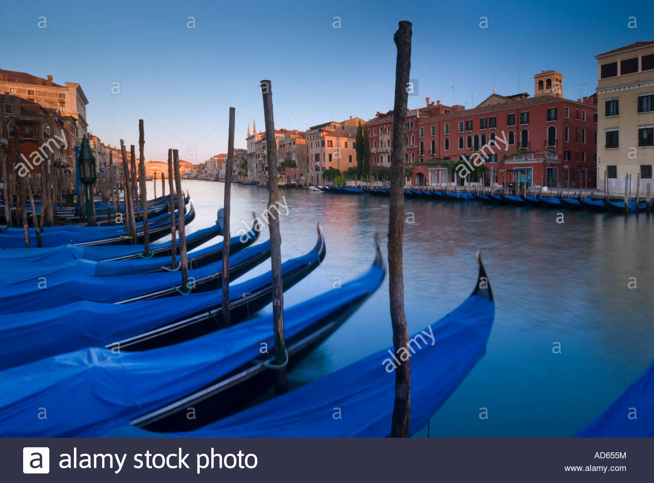 Gondolas line the Grand Canal, Venice, Italy Stock Photo