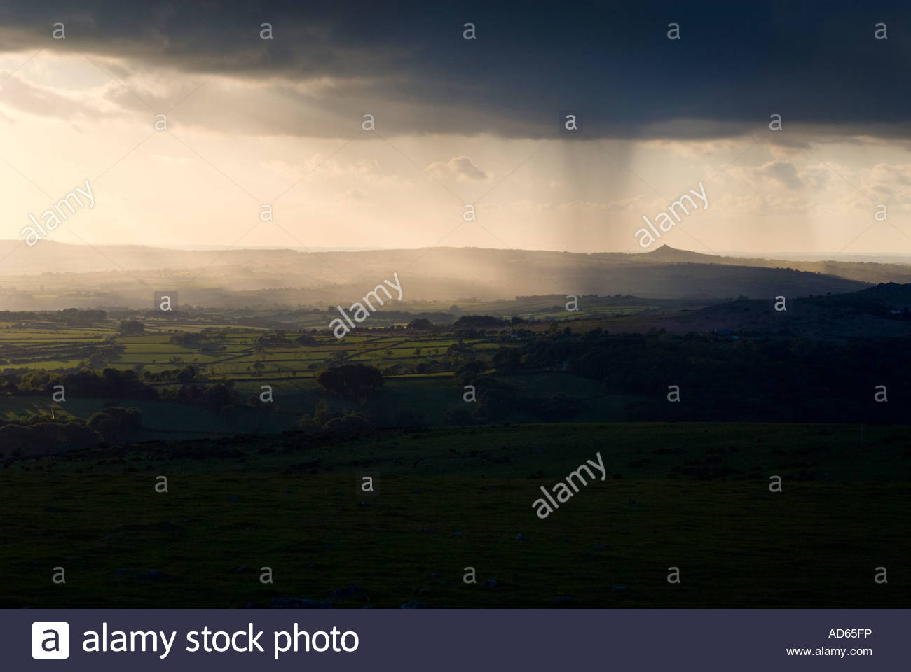 Storm passing over Brentor church, Dartmoor National Park, Devon - Stock Image