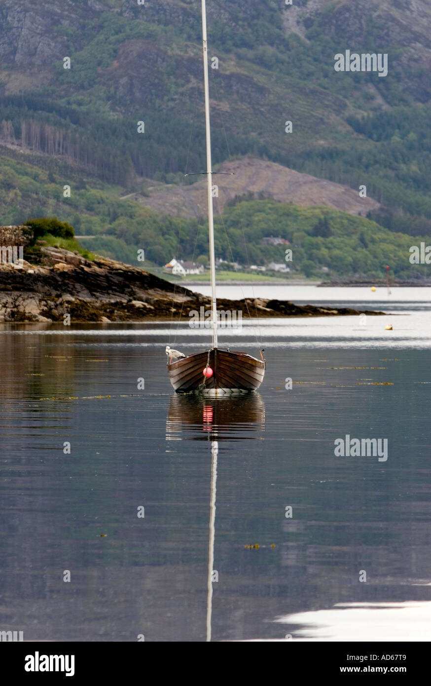 Single wooden hulled boat moored in the harbour at Plockton. Ross and Cromarty, Scotland - Stock Image