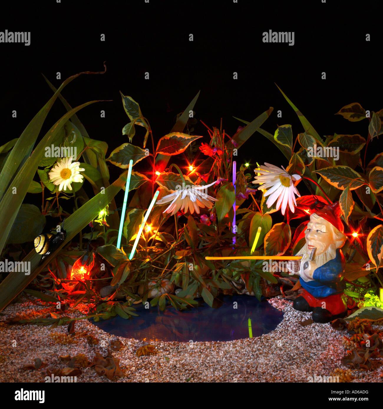 Fantasy Midnight Garden. - Stock Image