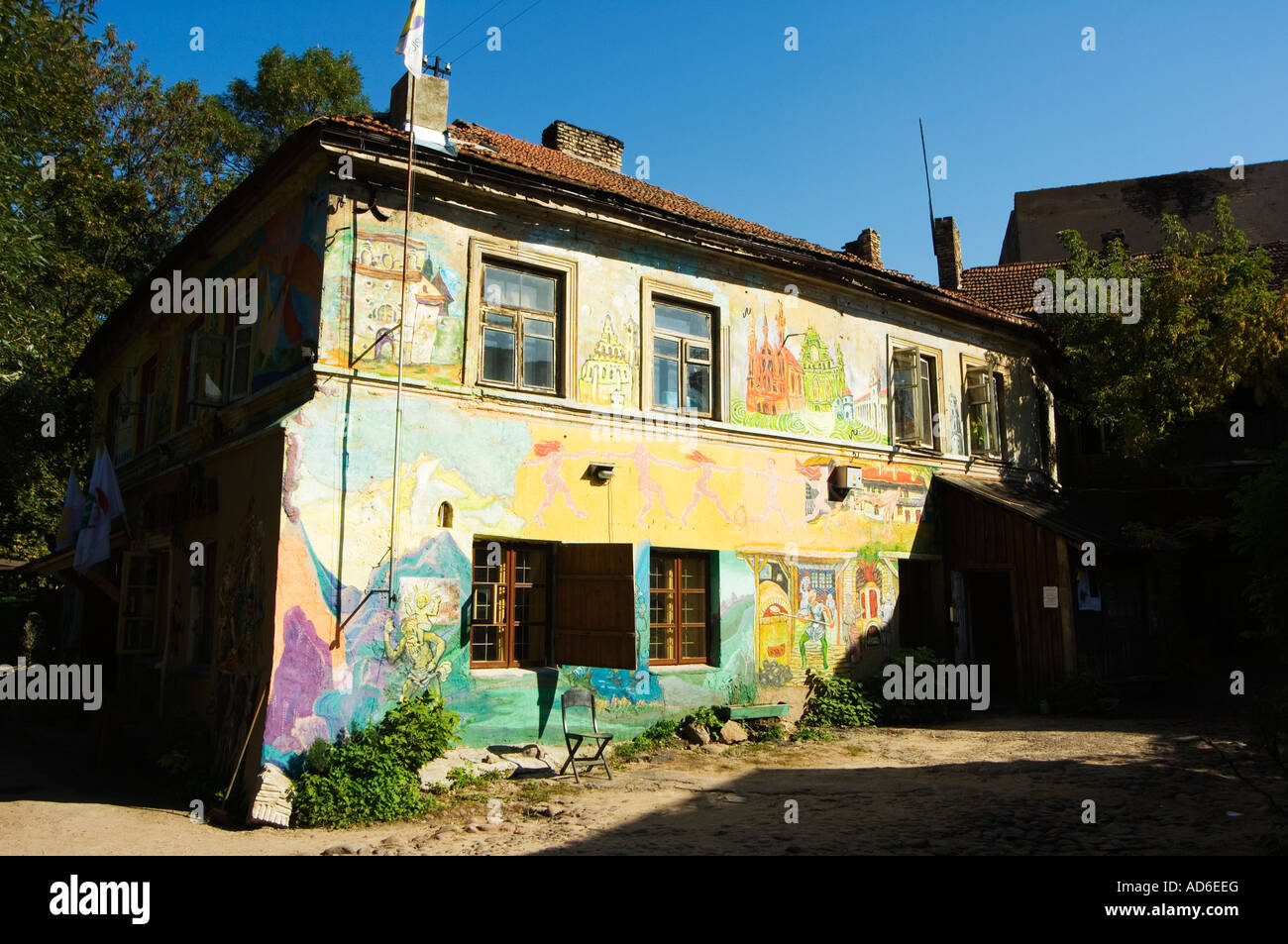 Lithuania Baltic States Vilnius Wall Paintings on Artists House in ...