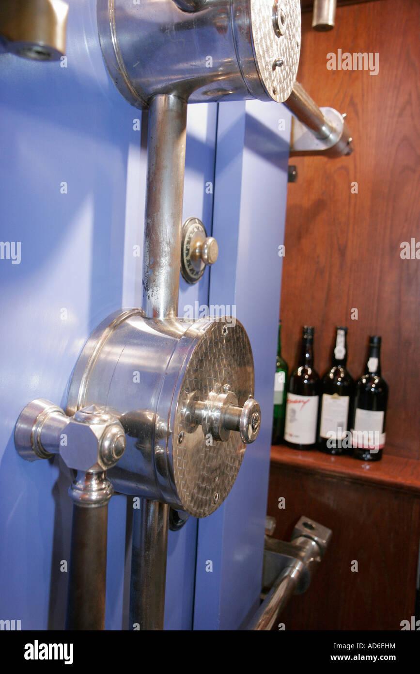 Virginia Leesburg King Street Lightfoot Restaurant former bank vault wine bottle - Stock Image