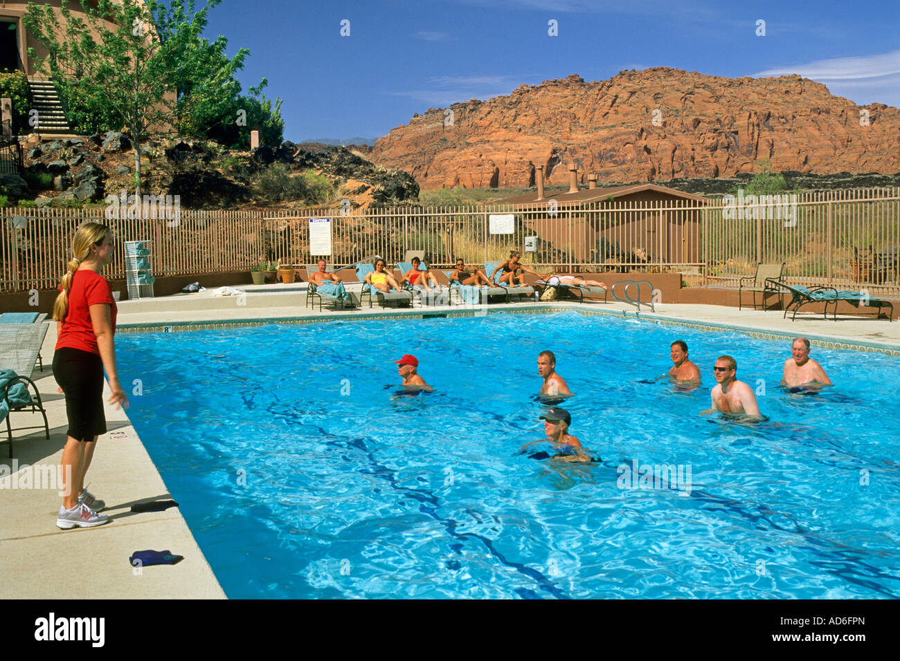 aqua robics fitness class in pool at red mountain resort ivins utah