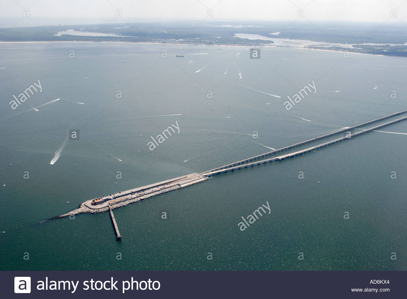 Virginia Beach Virginia Chesapeake Bay Bridge Tunnel boats seen from commercial airlines landing at Norfolk - Stock Image