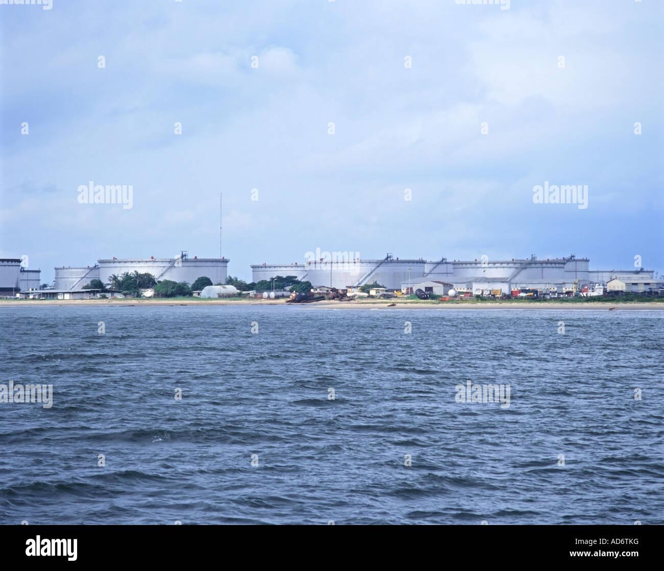 Shell Oil Storage Tanks at Shell Terminal Bonny Bonny River Nigeria - Stock Image