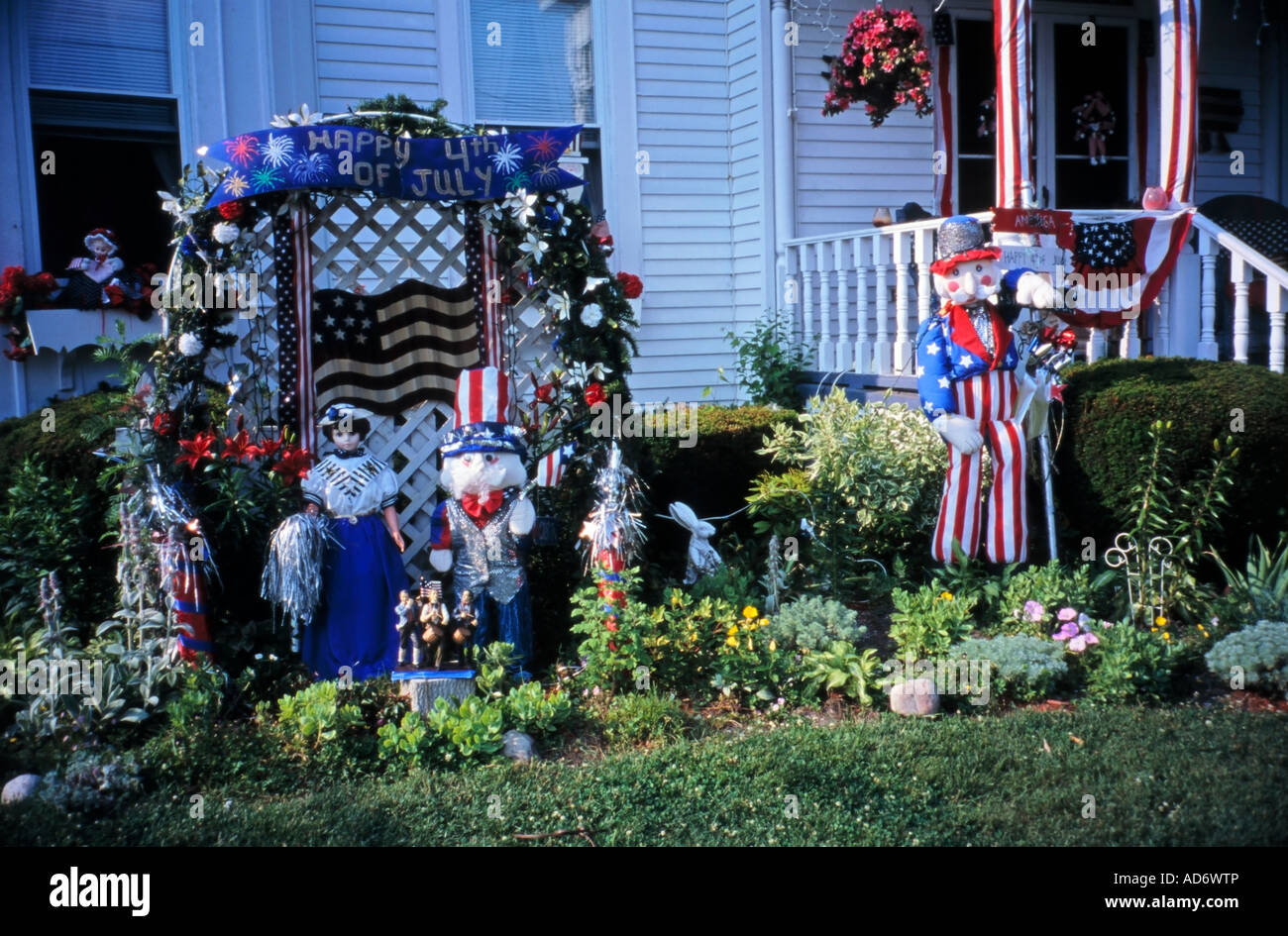 4th July Celebrations House And Garden Decorations Hoosick Falls New York  State USA