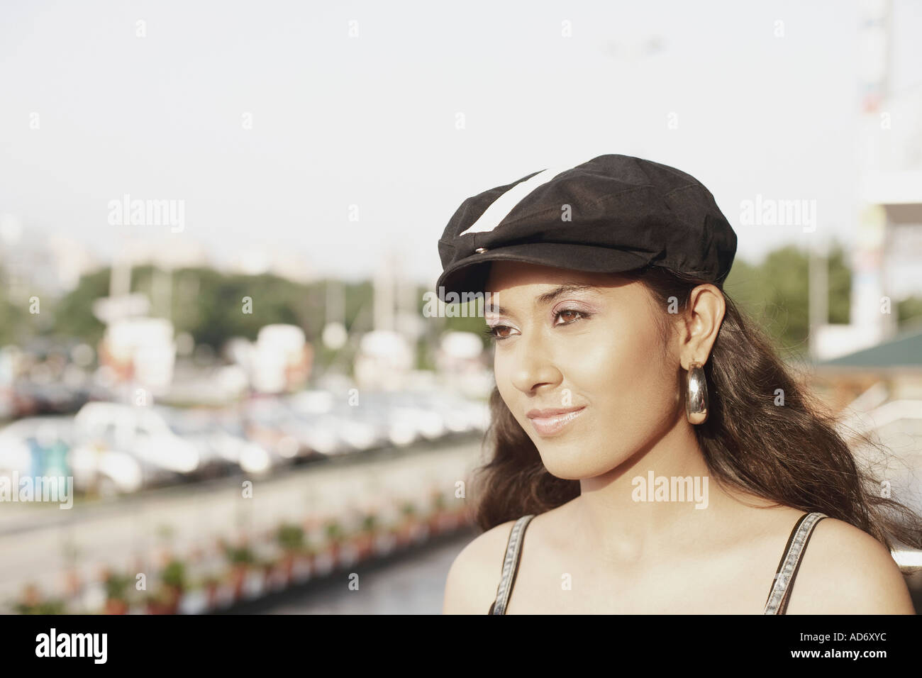 016f666257405 Close-up of a young woman wearing a cap Stock Photo  7614011 - Alamy