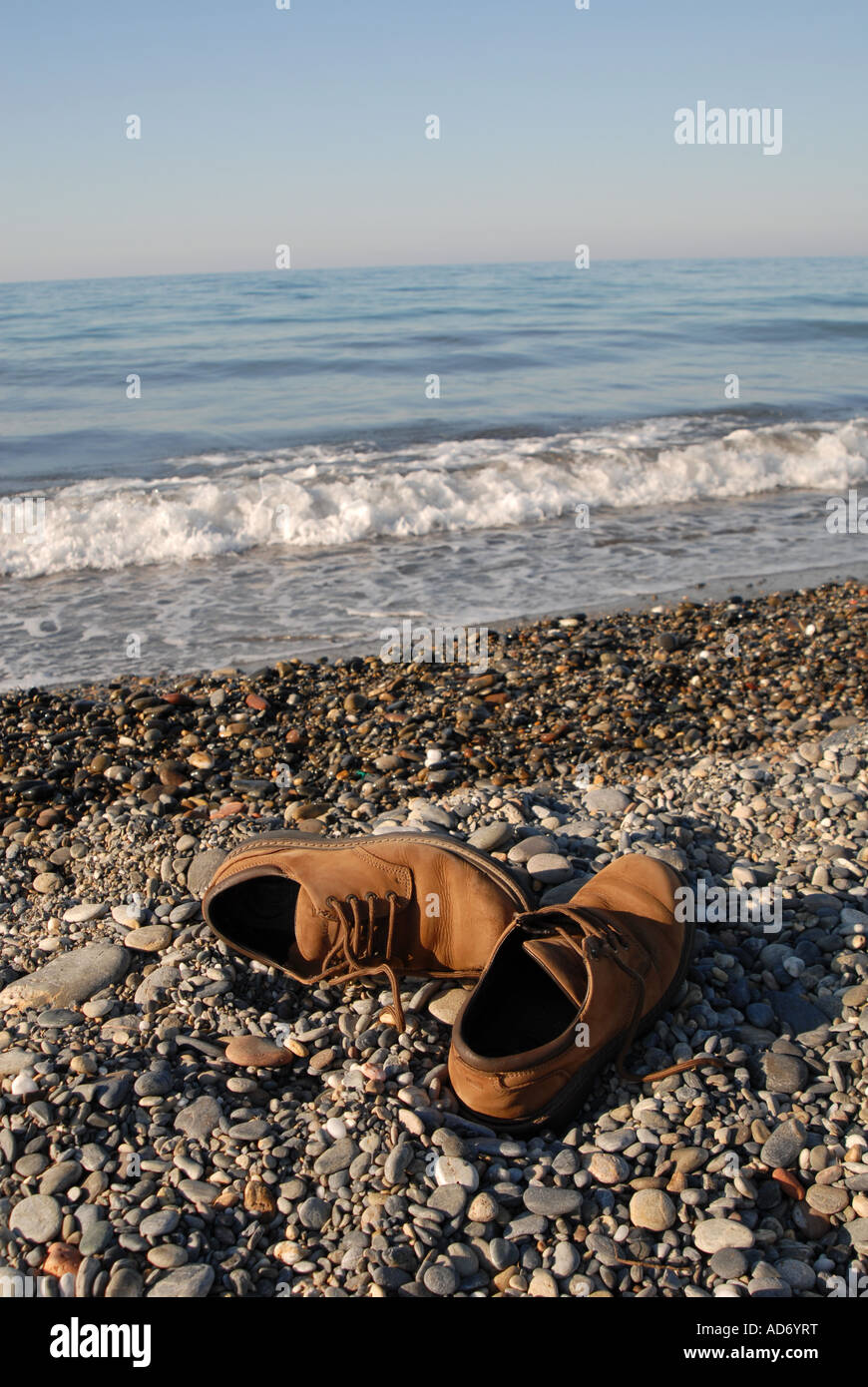 fc28bb633872 CRETE Shoes on the beach between Maleme and Gerani near Hania Stock ...