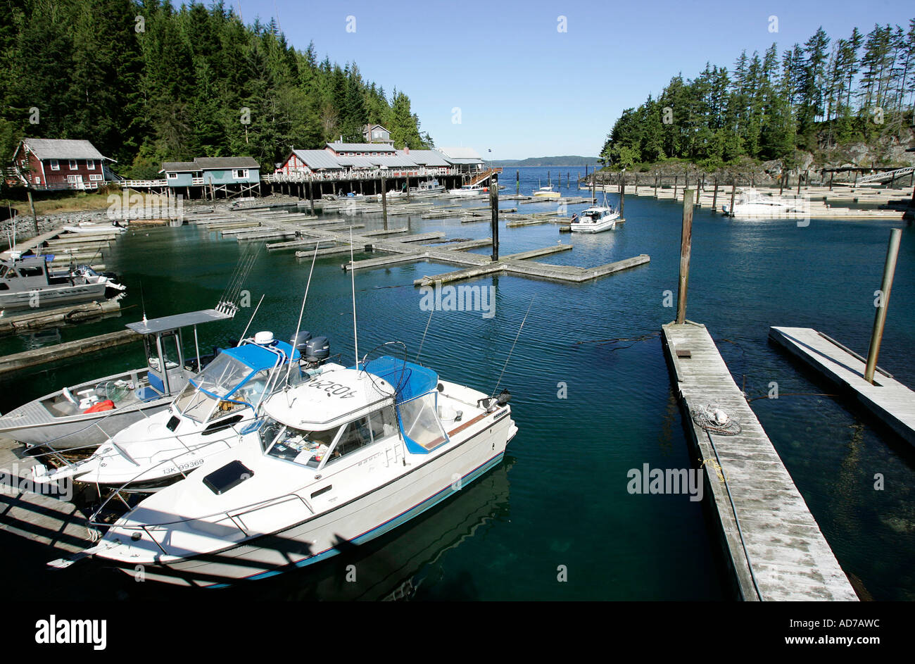 Horbour of fishing village Telegraph Cove on Vancouver Island, British Columbia, Canada - Stock Image