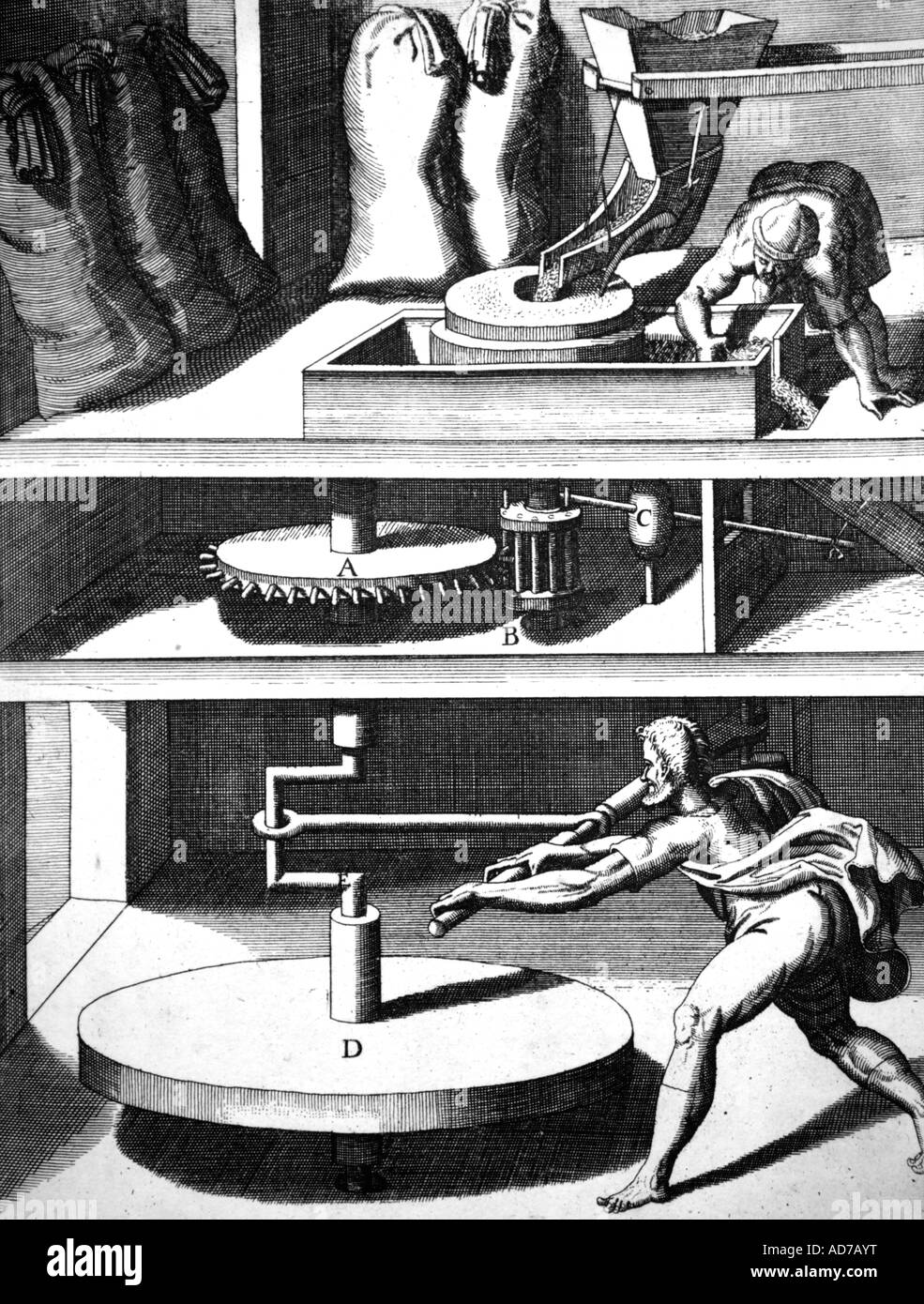 Hand Powered Milling Machine 17th Century Engraving - Stock Image