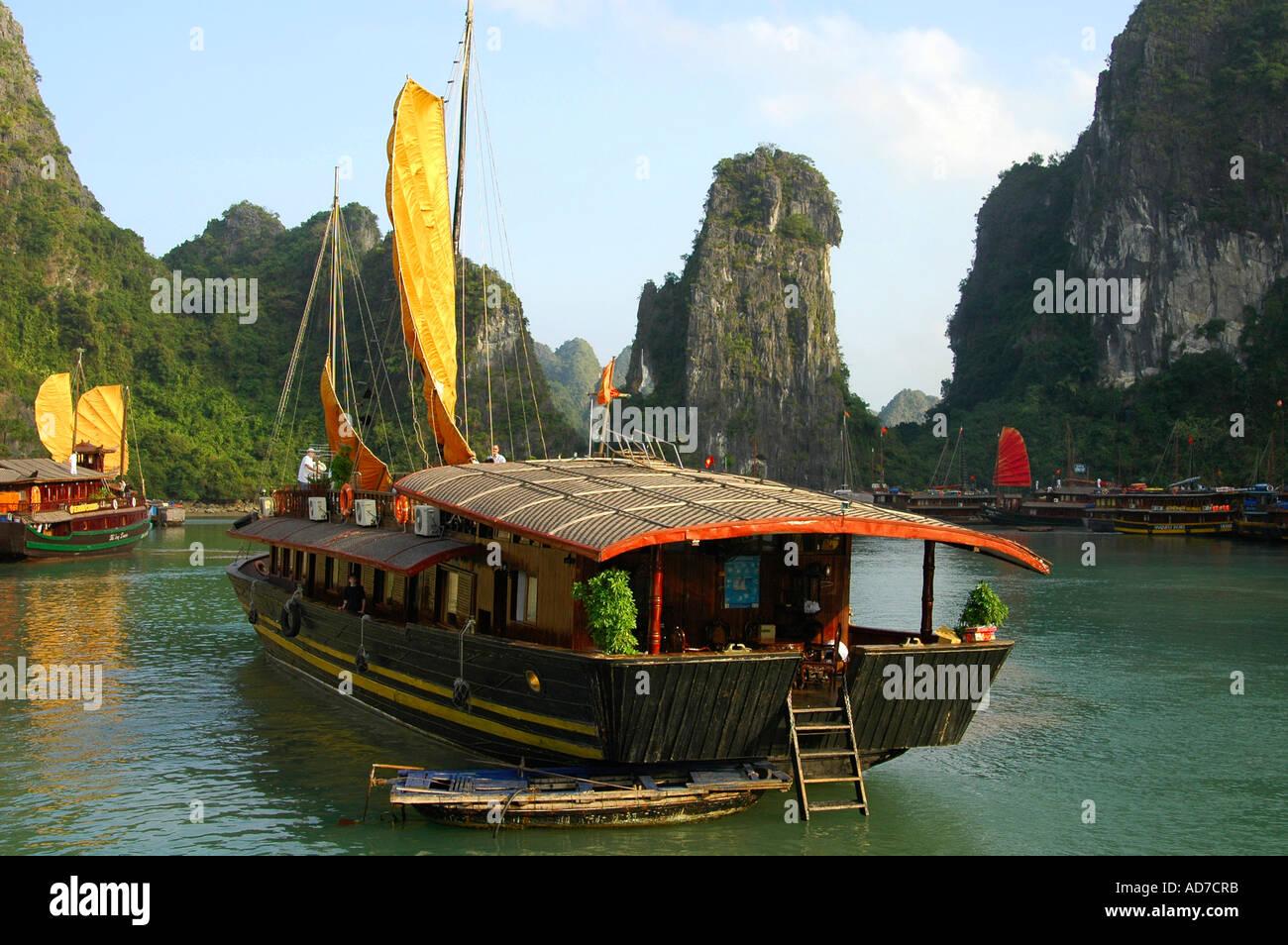 Sea pirates harbour Halong Bay Viet Nam - Stock Image