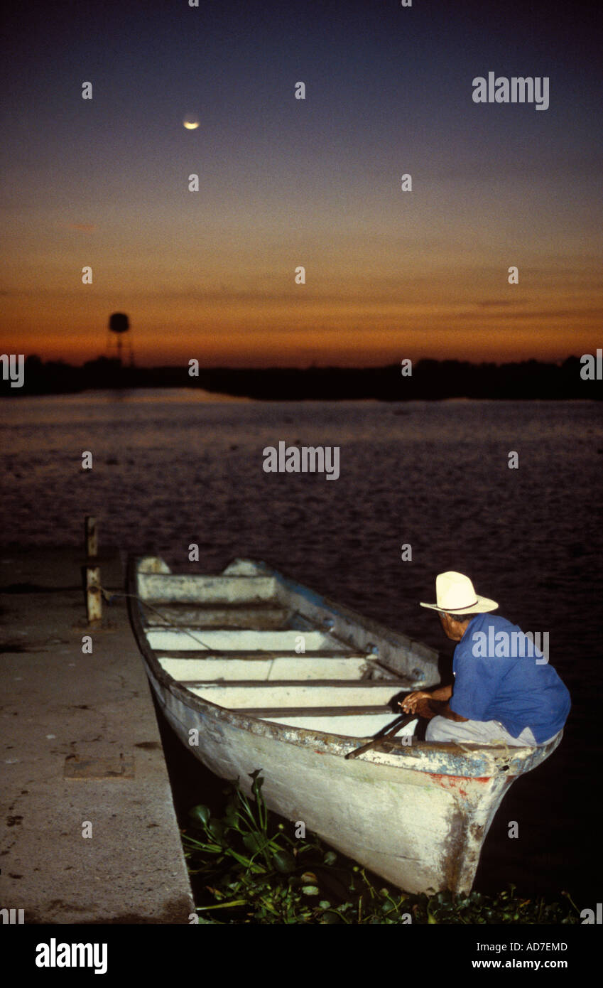 Mexico Nayarit Mexcaltitan man in boat - Stock Image