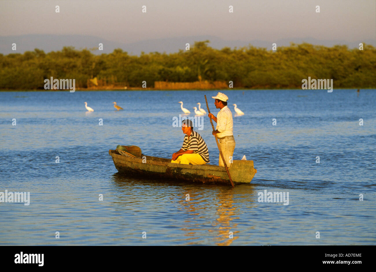 two men in boat Mexico Nayarit Mexcaltitan - Stock Image