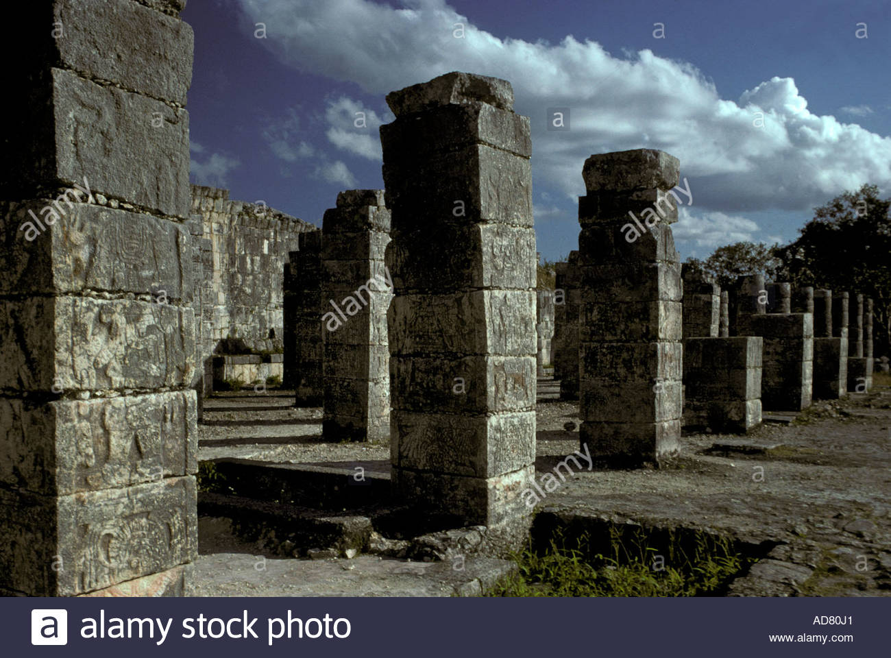 MEXICO Yucatan State, Chichen Itza, post-classic Maya culture, detail of the Temple of the 1000 columns;1000-1200 A.E. - Stock Image