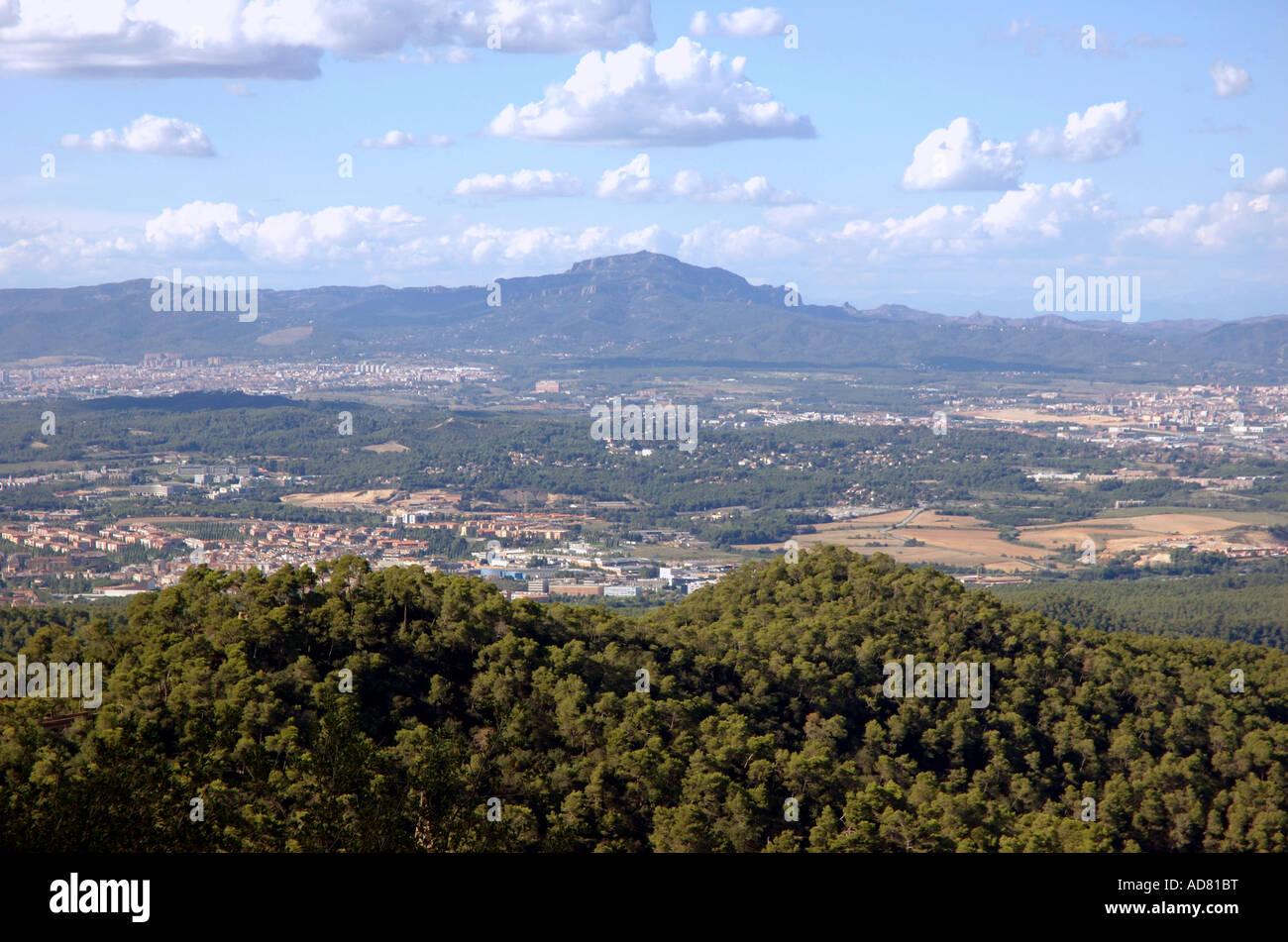 Panoramic view of Barcelona from atop Tibidabo mount Barça Catalunya Catalonia Cataluña Costa Brava España Spain Stock Photo