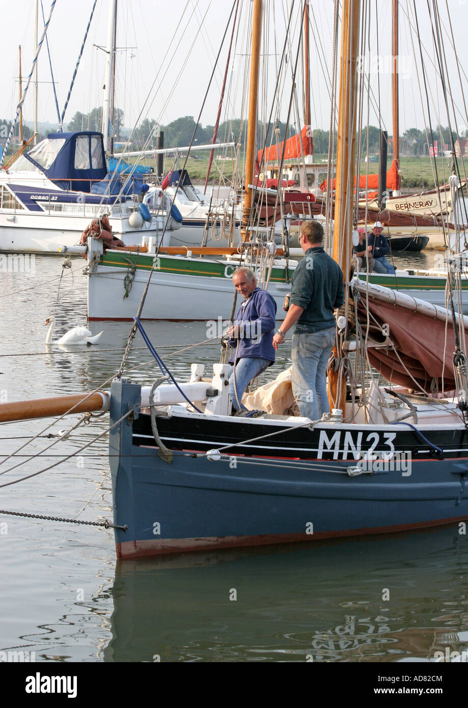 Skipper and crew of the Oyster Smack MN23 - Stock Image