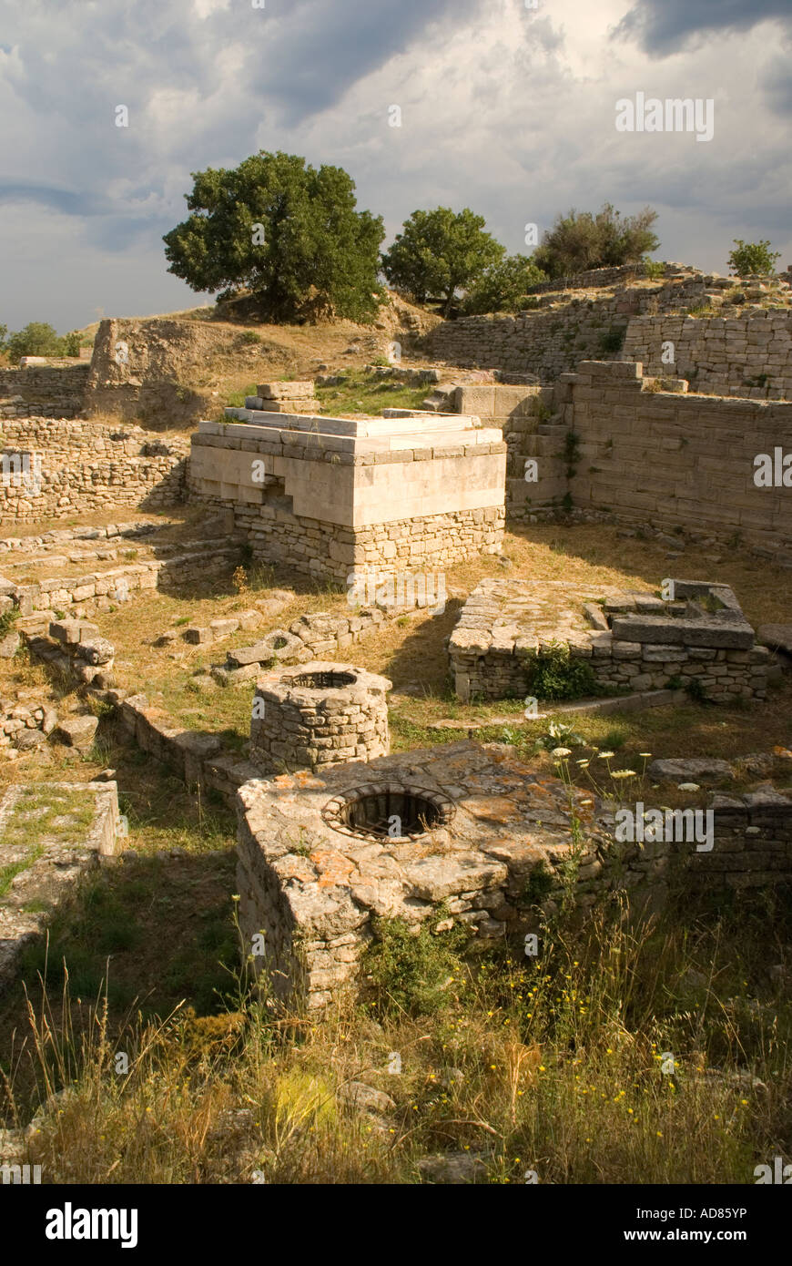 Ancient ruins of city of Troy VIII-IXm from 7th to 3rd centuries BCE, religious sanctuary - Stock Image