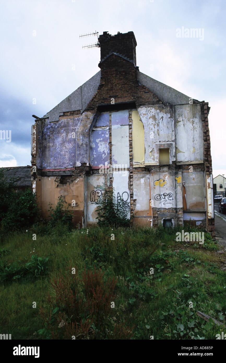 Partly Demolished House - Stock Image