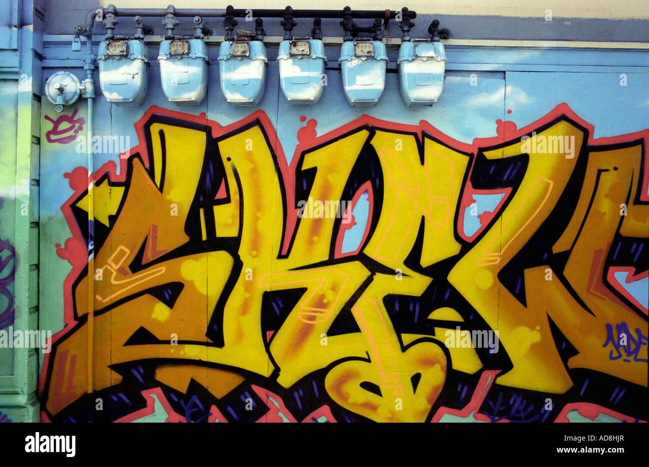Graffiti on an alley wall in San Francisco, California, USA Stock ...