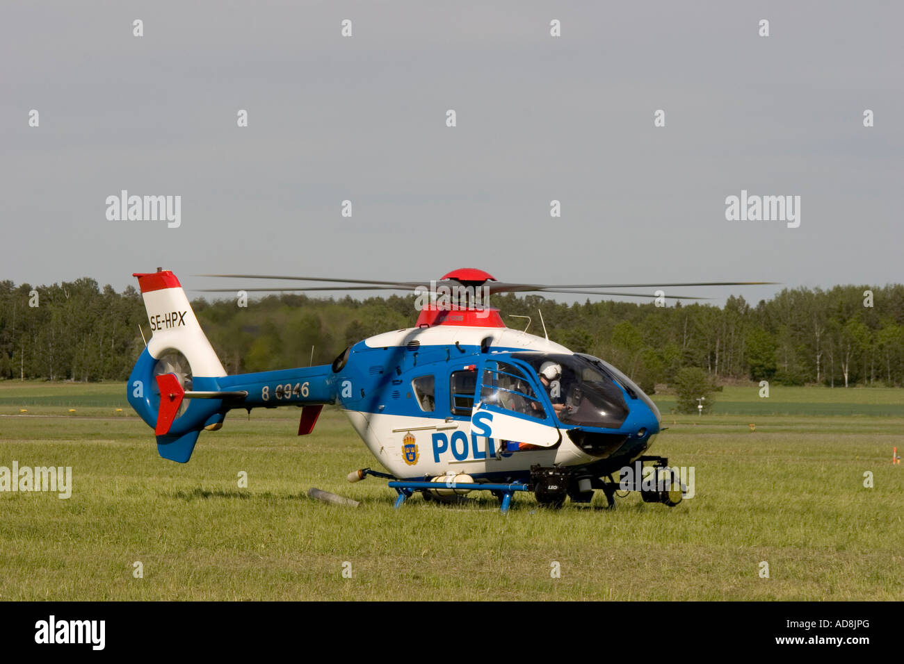 Police helicopter in Sweden - Stock Image