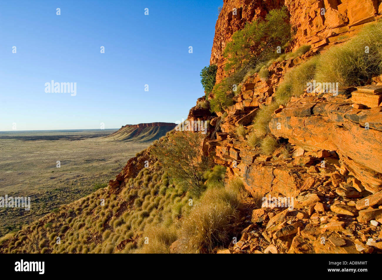 Evening light on the Breadon Hills on the Canning Stock Route Western Australia - Stock Image