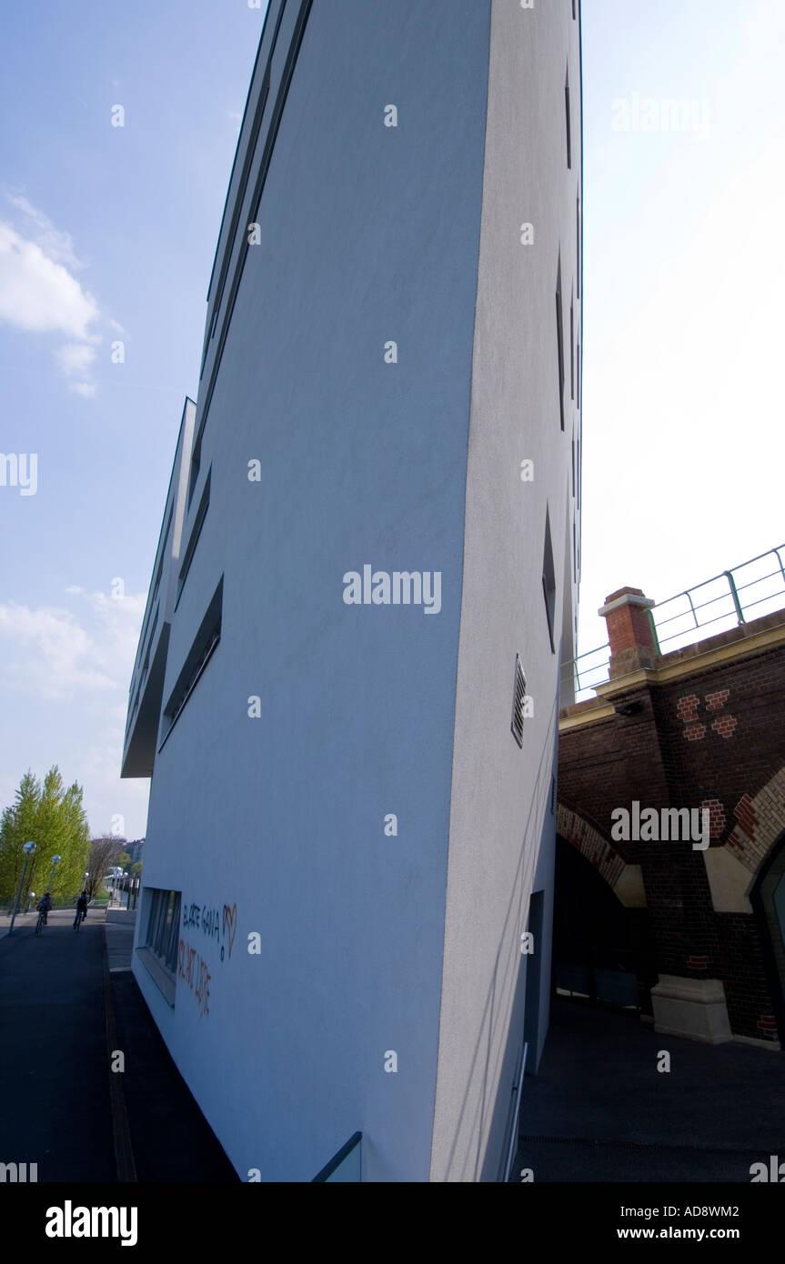 Zaha Hadid on the Danube canal Stock Photo