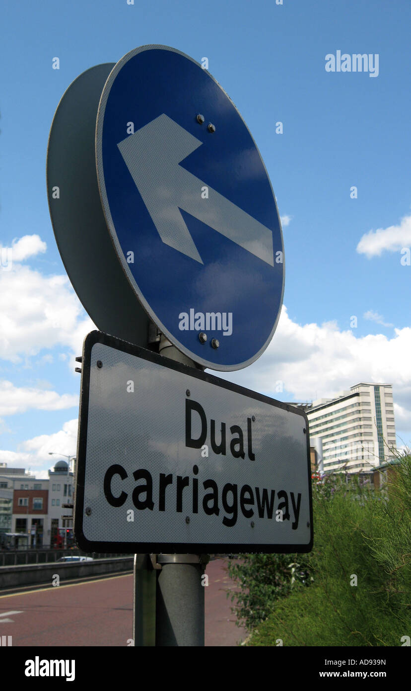 Dual Carriageway direction sign - Stock Image