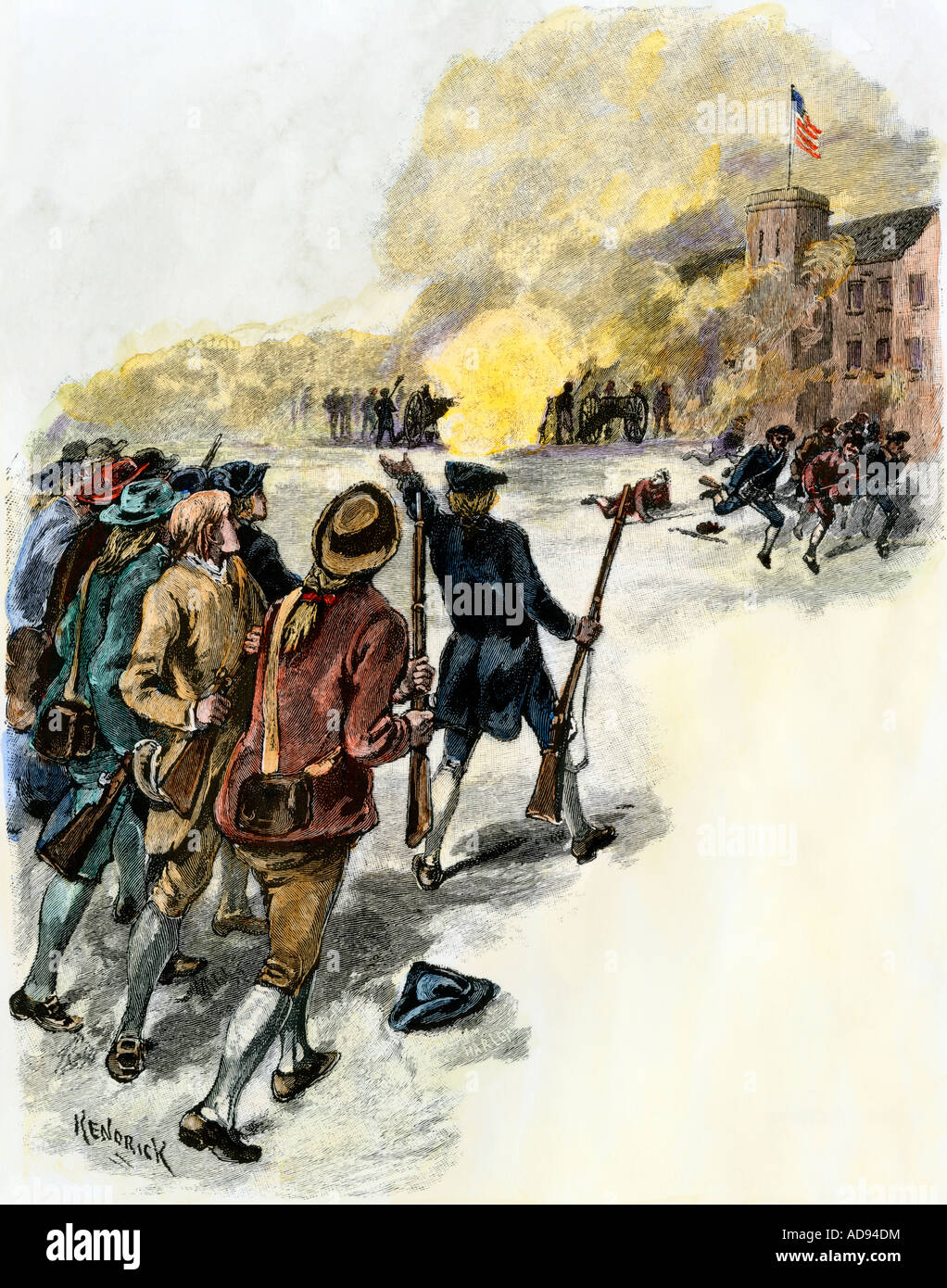 Massachusetts militia attacking angry rioters in Shays Revolt 1786 to 1787. Hand-colored woodcut - Stock Image