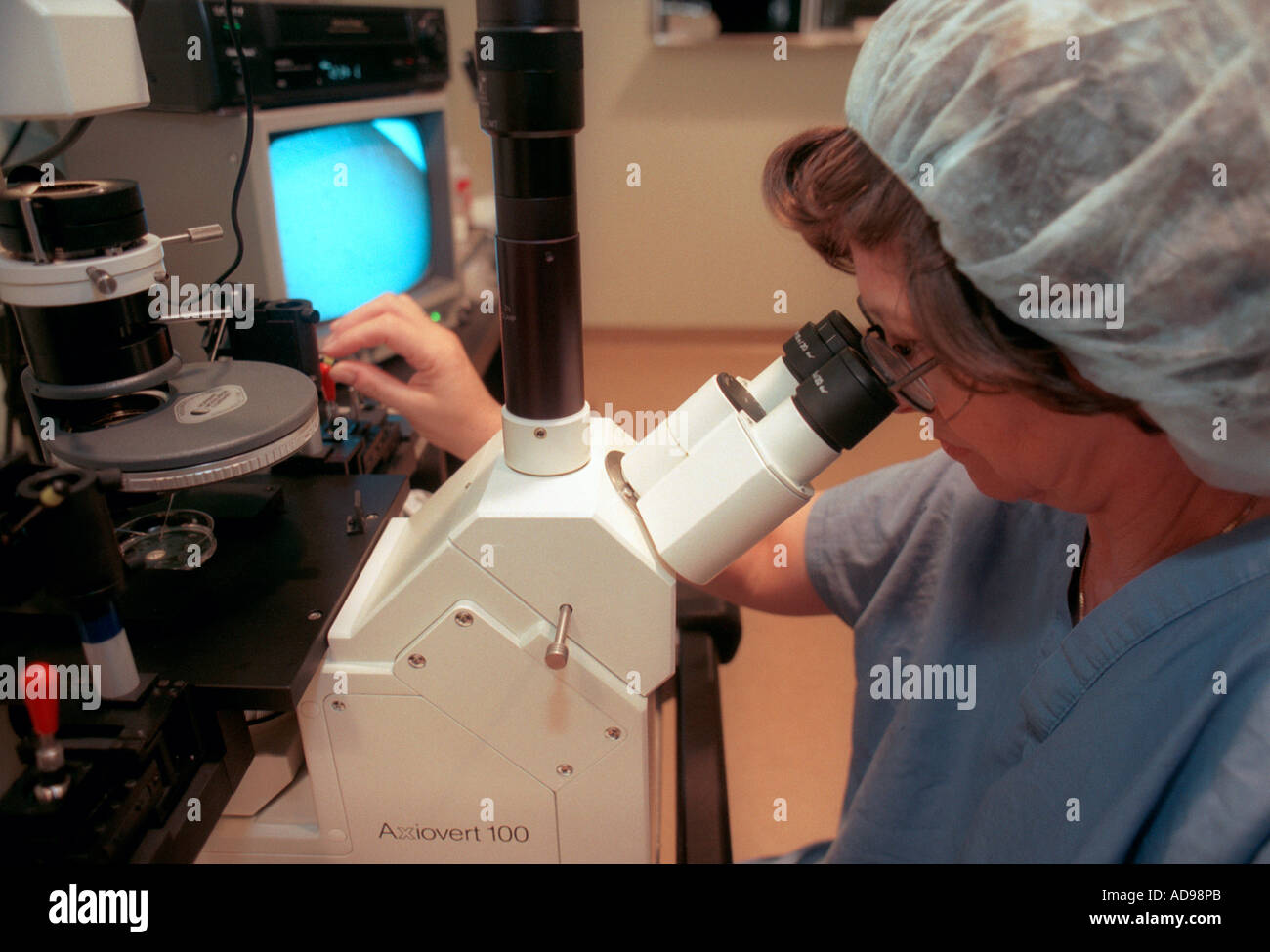 An embryologist at work in the fertility lab at Maimonides