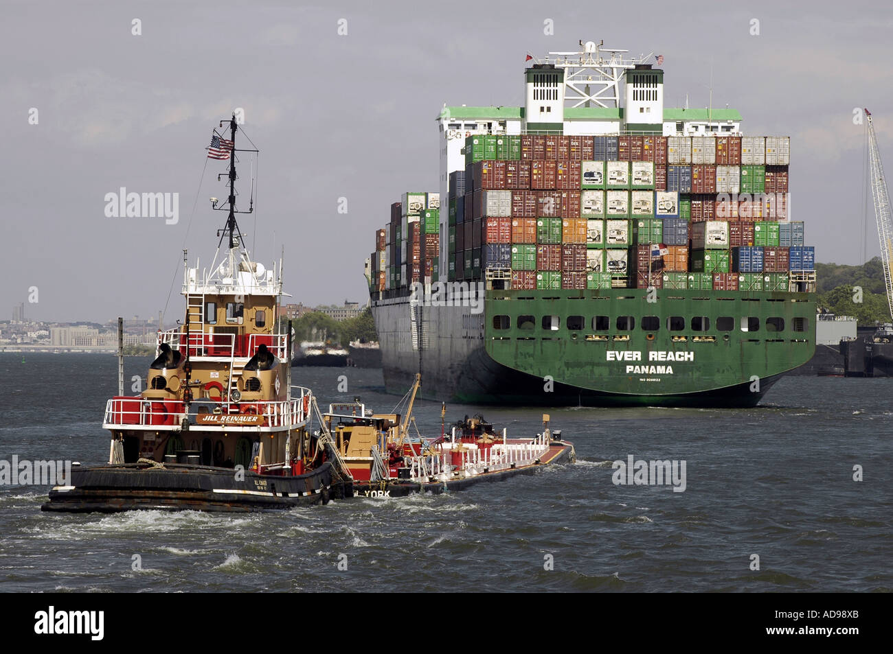 Container ship the Ever Reach run by the Evergreen Lines - Stock Image