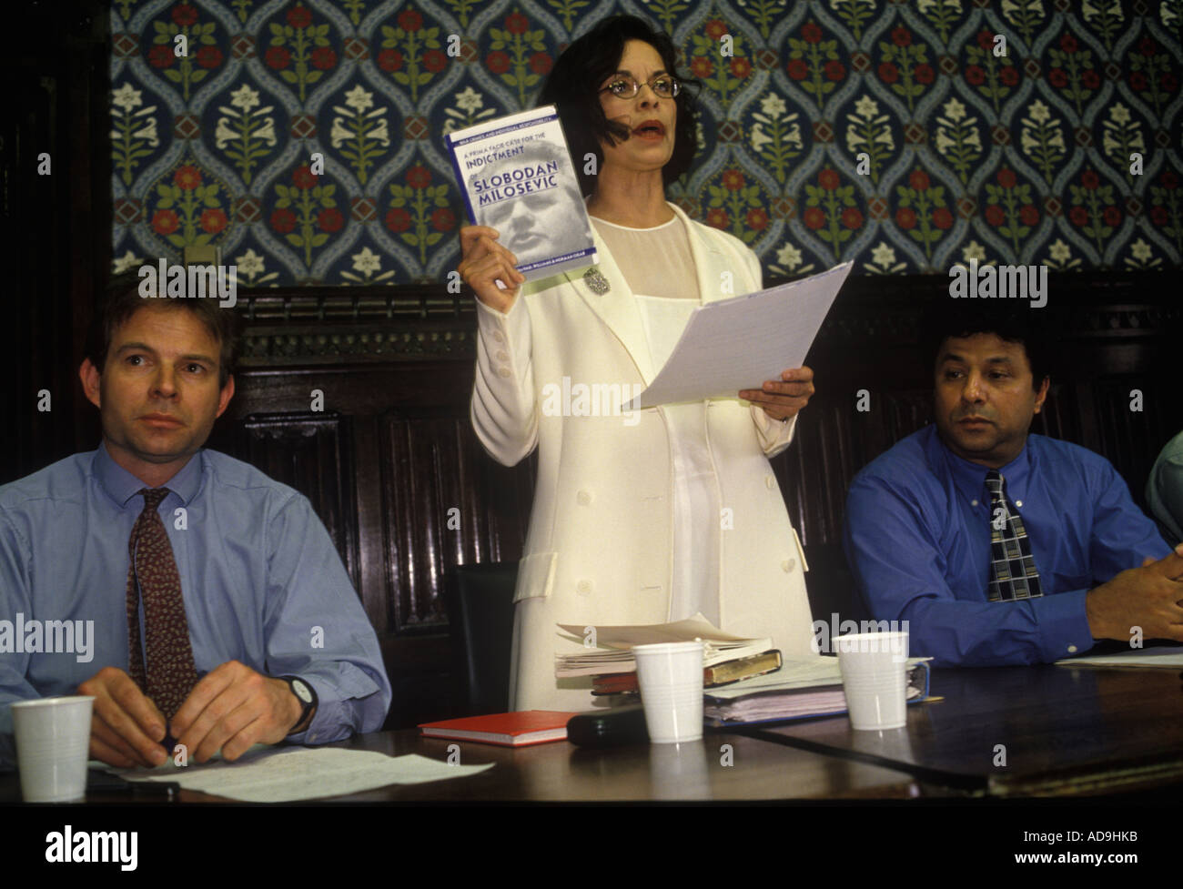 colour portrait of 'Bianca Jagger' human rights activist talk 'House of Common'  circa 1995 - Stock Image