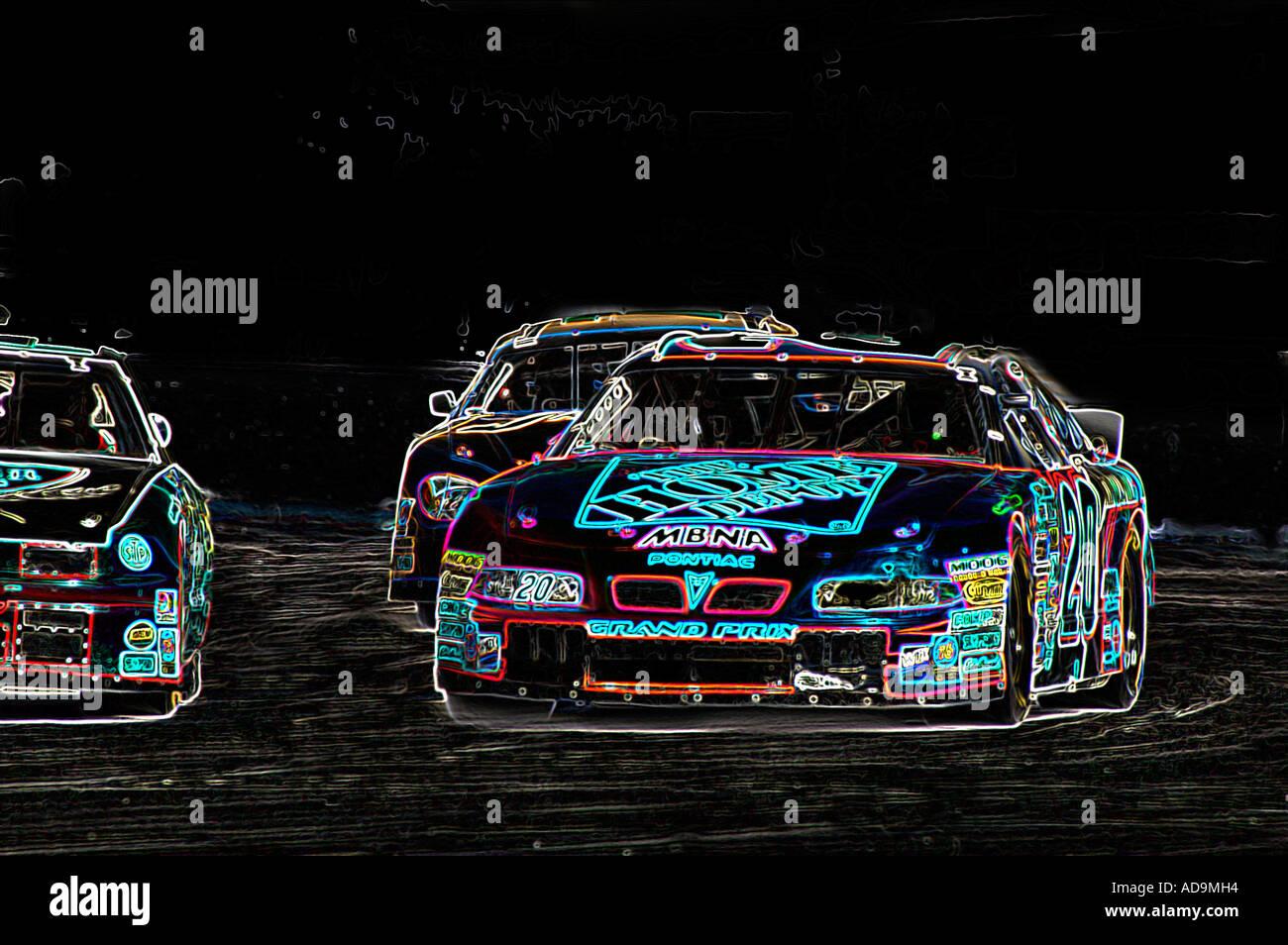 Computed Generated Abstract Art Of Nascar Stock Cars At The Historic Sportscar  Races At Sebring Internation Raceway Florida