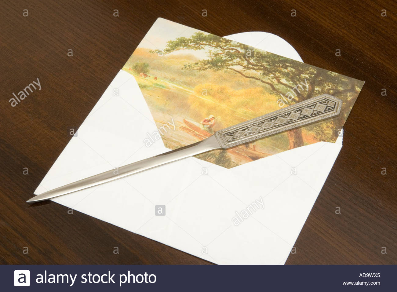 Card and paper knife. - Stock Image