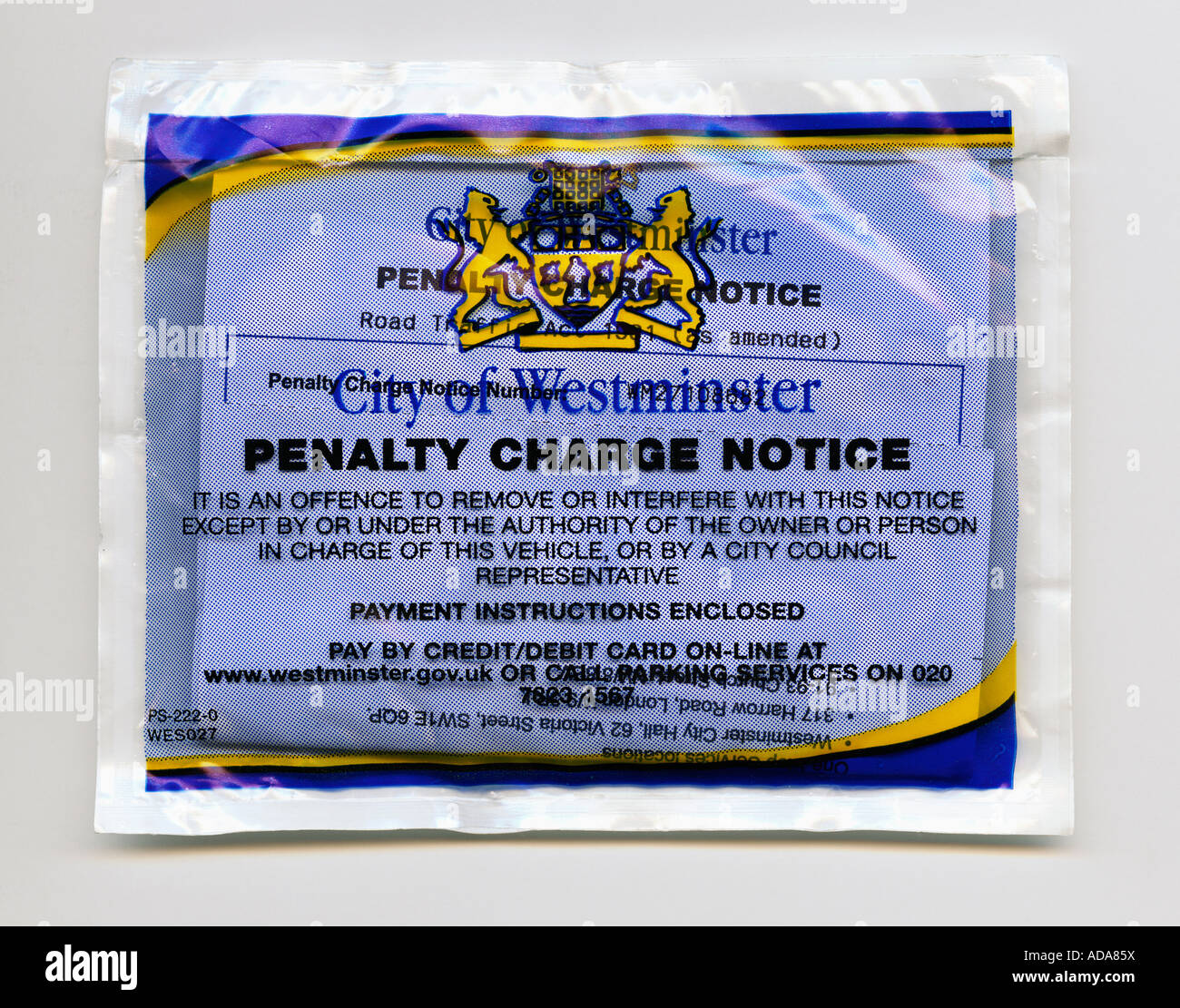 Close up of City of Westminster parking penalty charge notice bag - Stock Image