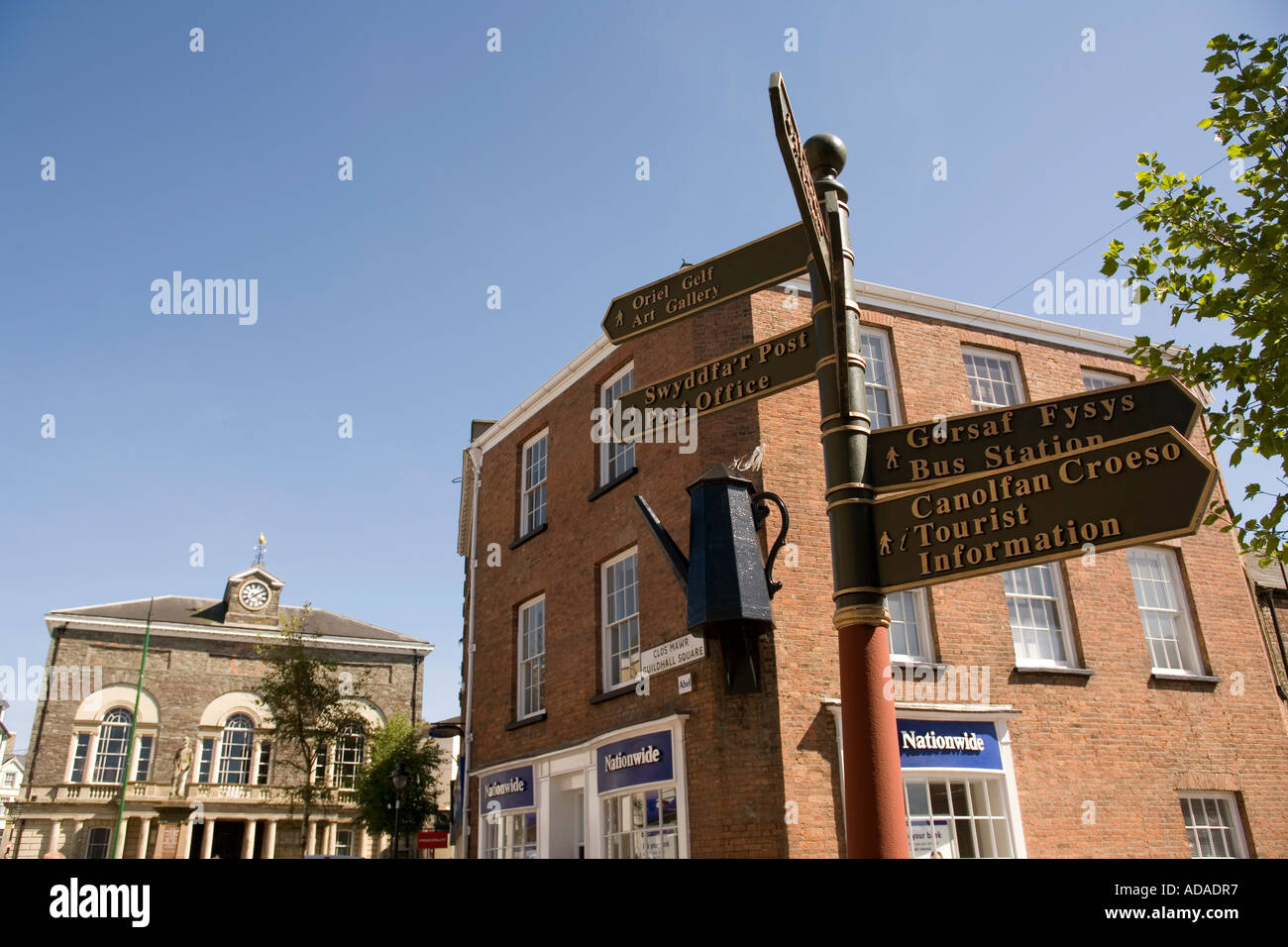 Wales Carmarthenshire Carmarthen Dark Gate Tourist Signs And The