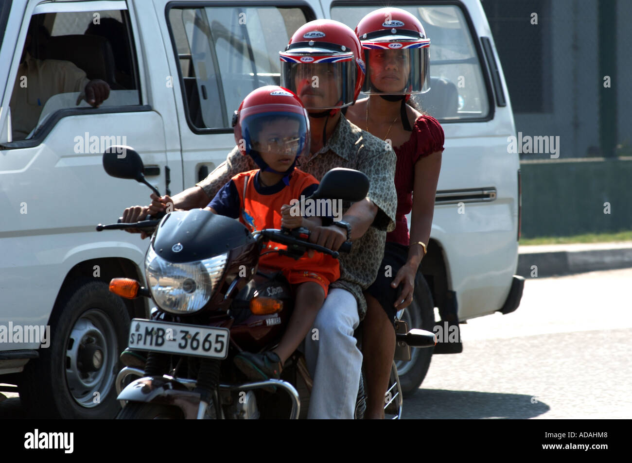 Galle Fort family on motorbike Stock Photo