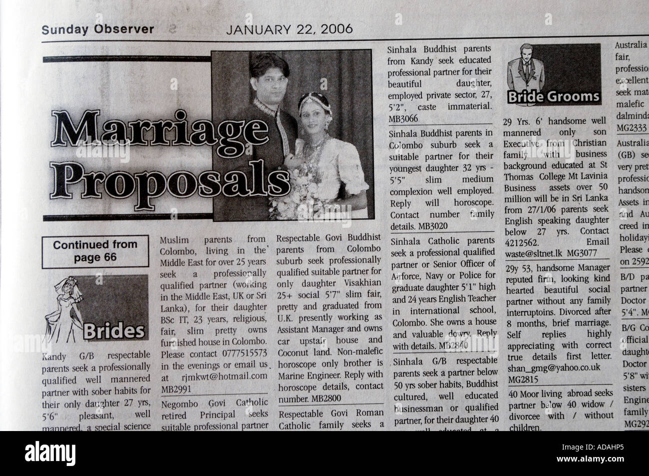Marriage proposals in the Sunday Observer - Stock Image