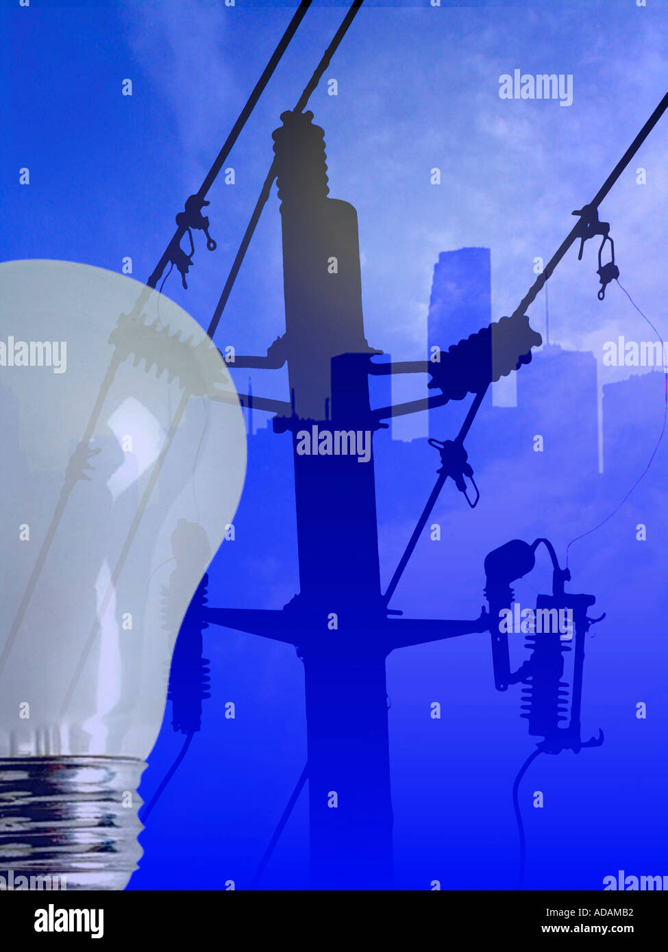 Electric Lines and Poles Energy Lightbulb City Skyline  - Stock Image