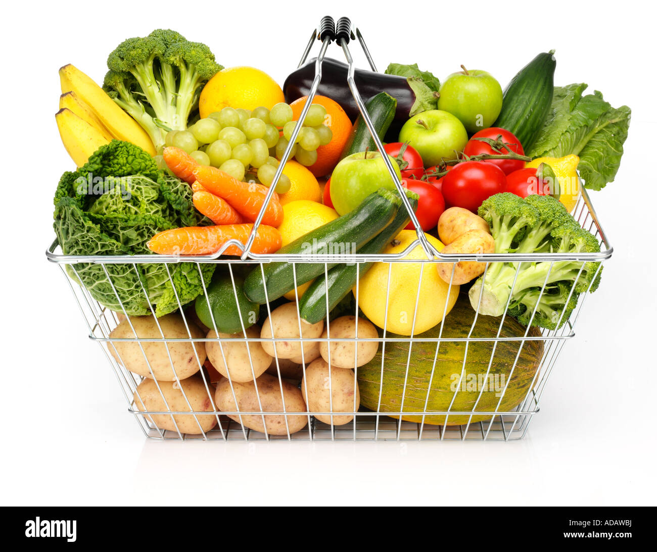 FRUIT AND VEGETABLES IN SHOPPING BASKET Stock Photo - Alamy